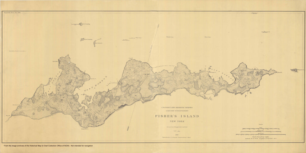 Fishers Island Historical Map - 1882
