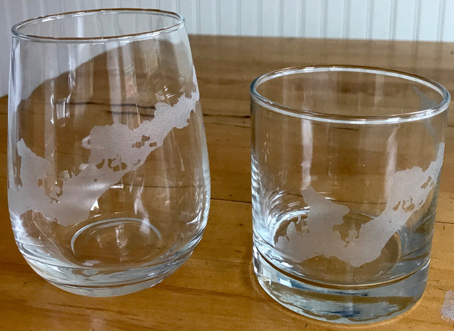Fishers Island Map Glasses