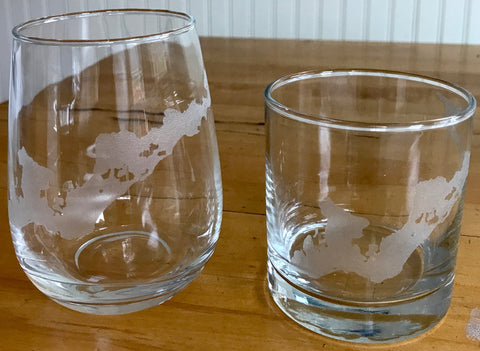 Fishers Island Map - Engraved Rocks & Stemless Wine Glasses