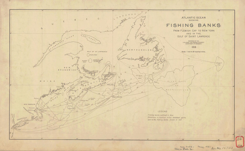 North Atlantic Fishing Banks Historical Map - 1918