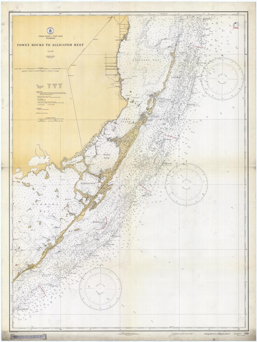 Fowey Rocks to Alligator Reef Map - 1933