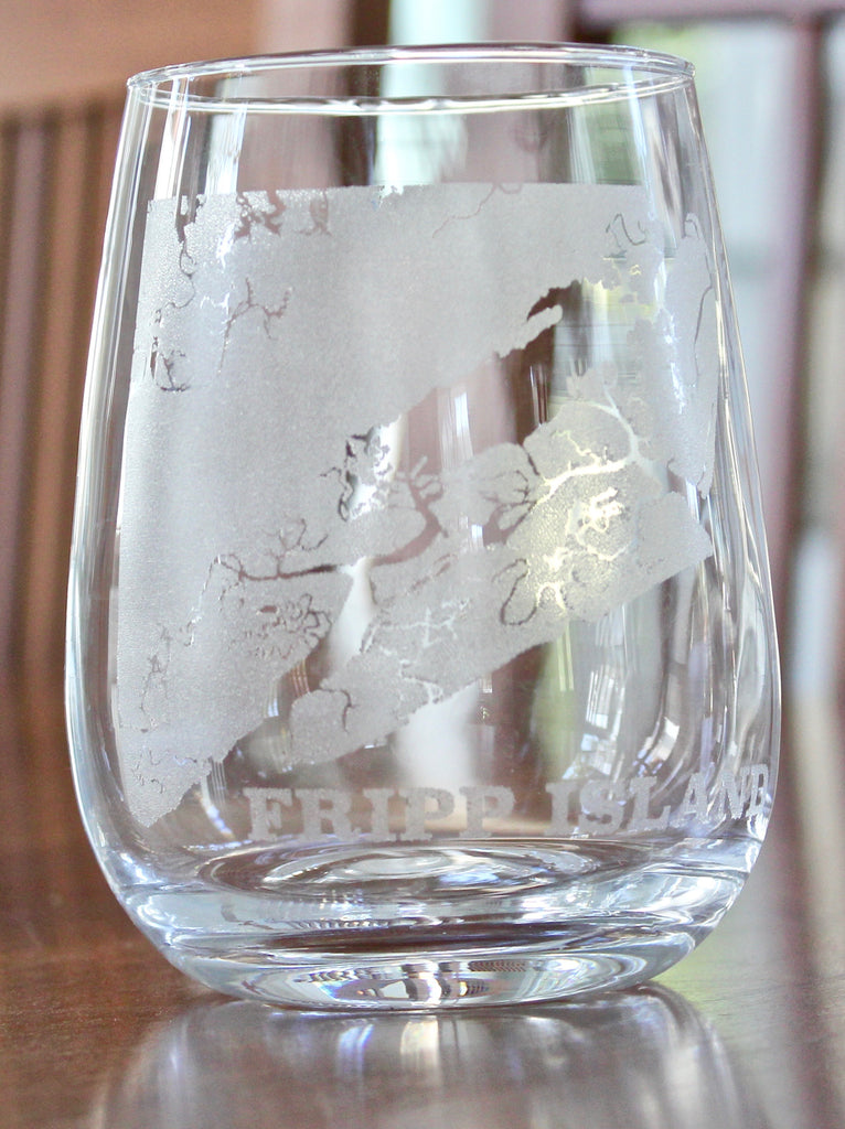 Fripp Island Map - Engraved Rocks, Stemless Wine & Pint Glasses