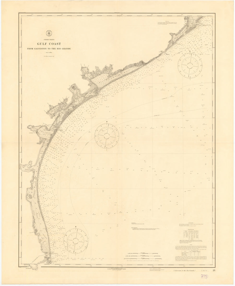 Galveston Bay to Rio Grande Historical Map - 1915