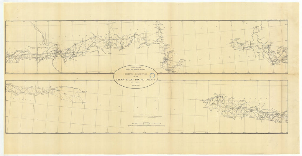 Geodetic Connection - Atlantic and Pacific Coasts Map - 1883