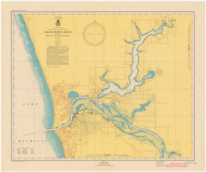 Lake Michigan Map - Grand Haven, Spring Lake and Lower Grand River - 1949