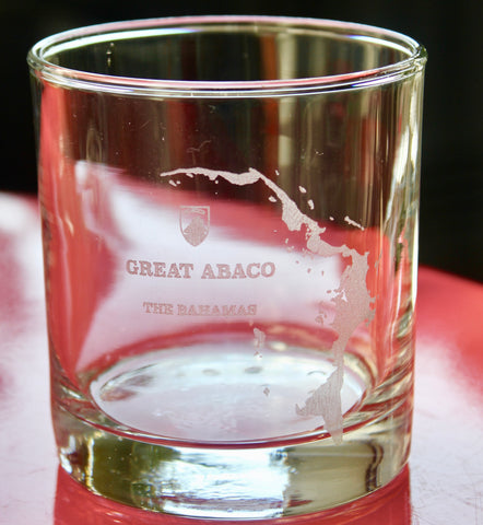 Great Abaco Island Map Rocks, Stemless Wine & Pint Glasses