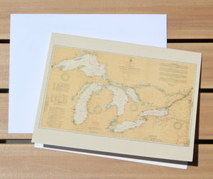 "Great Lakes Map Notecards (1921) 4.25""x5.5"""
