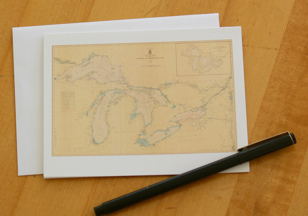 "Great Lakes Map Note Cards (1938) 4.25""x5.5"""