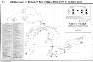 Great Lakes Wreck Chart Map - 1891