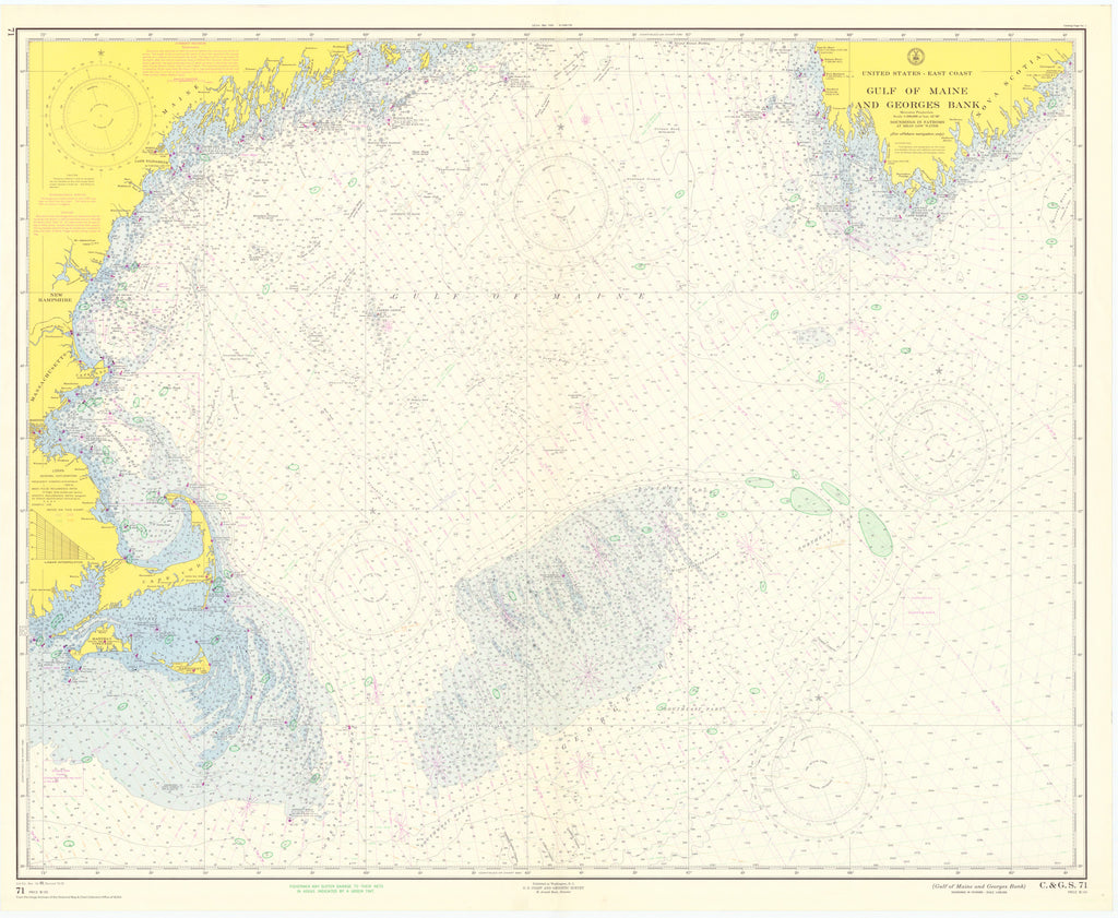 Gulf of Maine & George's Bank Map Historical Map - 1958
