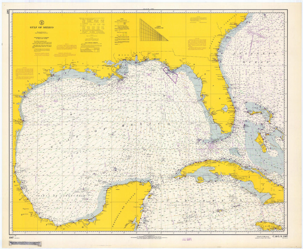 Gulf of Mexico Map  - 1966