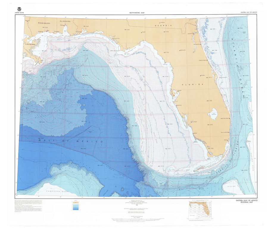 Gulf of Mexico Bathymetric Fishing Map  - 1986