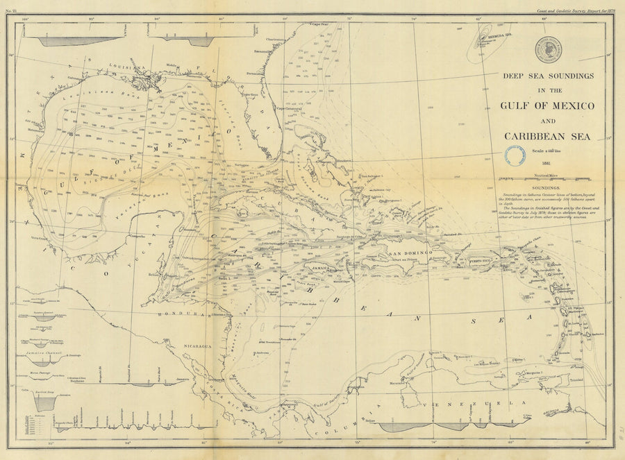 West India Islands & Caribbean Sea Historical Map 1879