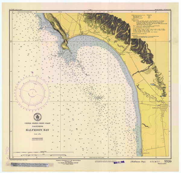 Half Moon Bay California Historical Map 1947