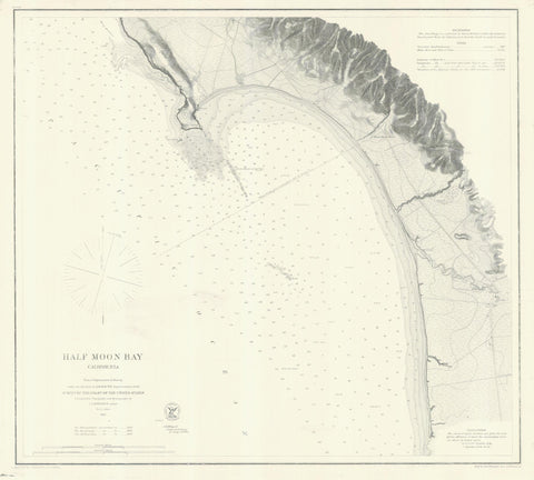 Half Moon Bay California Historical Map 1863