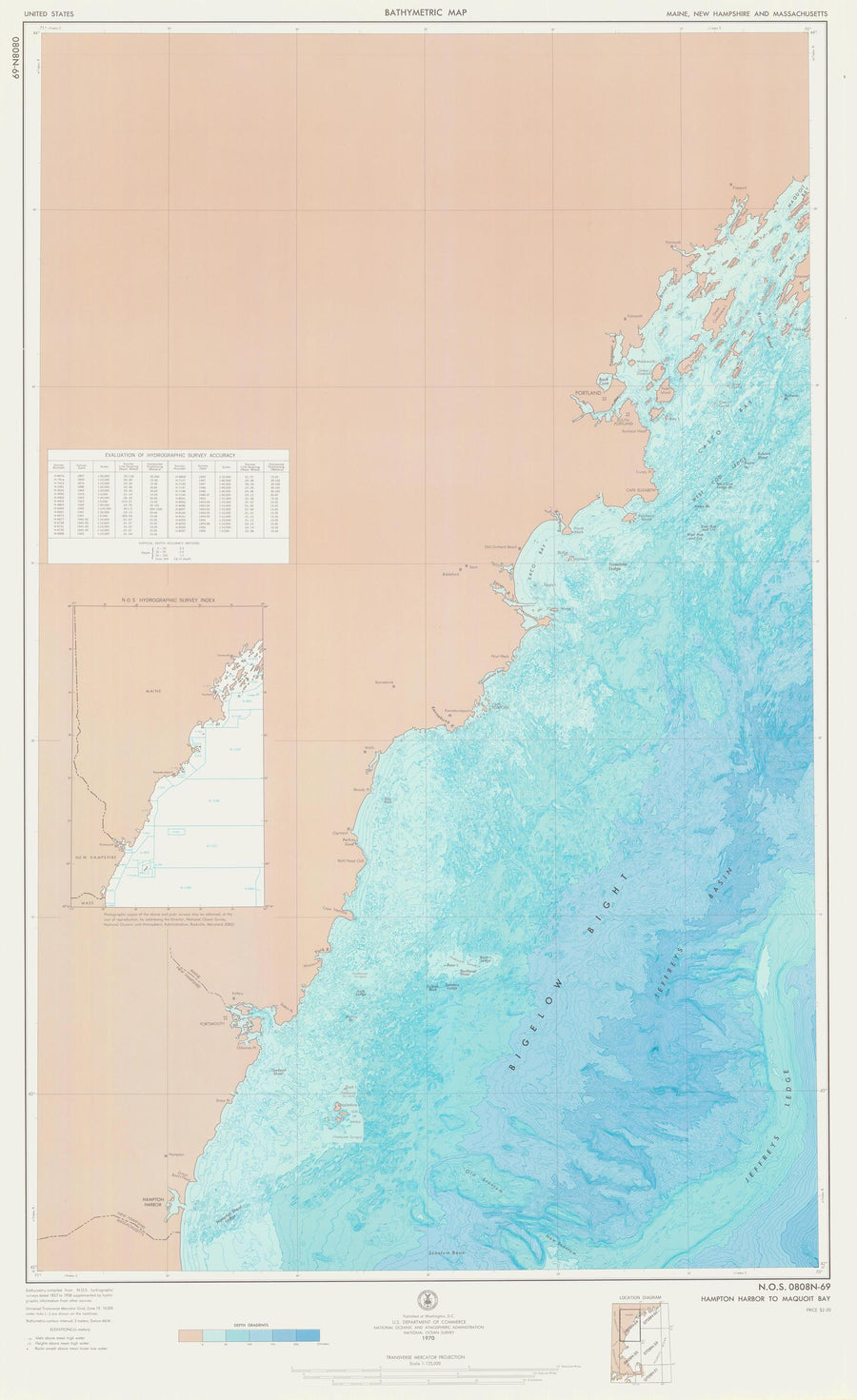 Hampton Harbor to Casco Bay Bathymetric Fishing Map - 1970