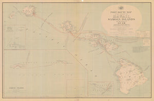 Hawaii - Guam - Samoan Islands Post Route Map - 1908