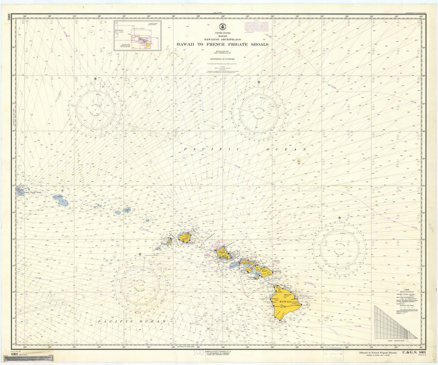Hawaii to French Frigate Shoals Map - 1961