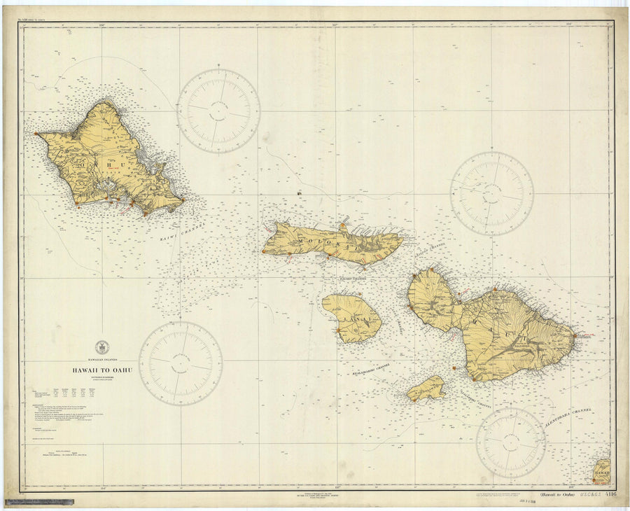 Hawaii to Oahu Map 1929