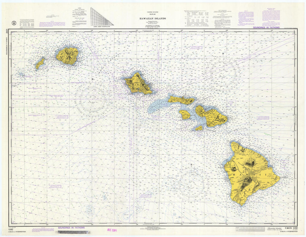 Hawaiian Islands Map -1974