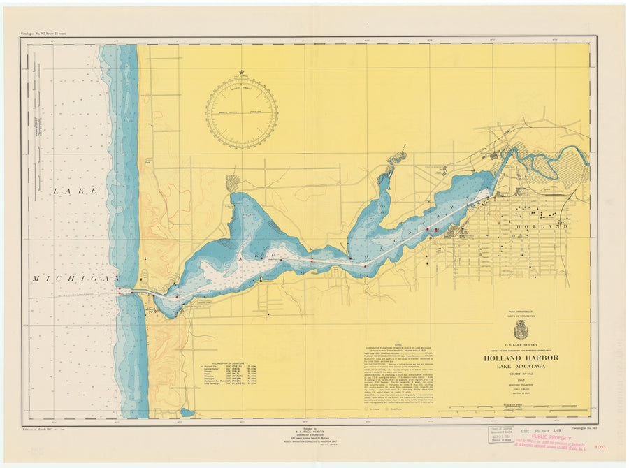 Lake Michigan Map - Holland Harbor - Lake Macatawa - 1949