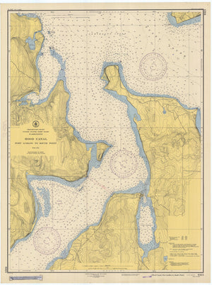 Hood Canal - Port Ludlow to South Point Map - 1947