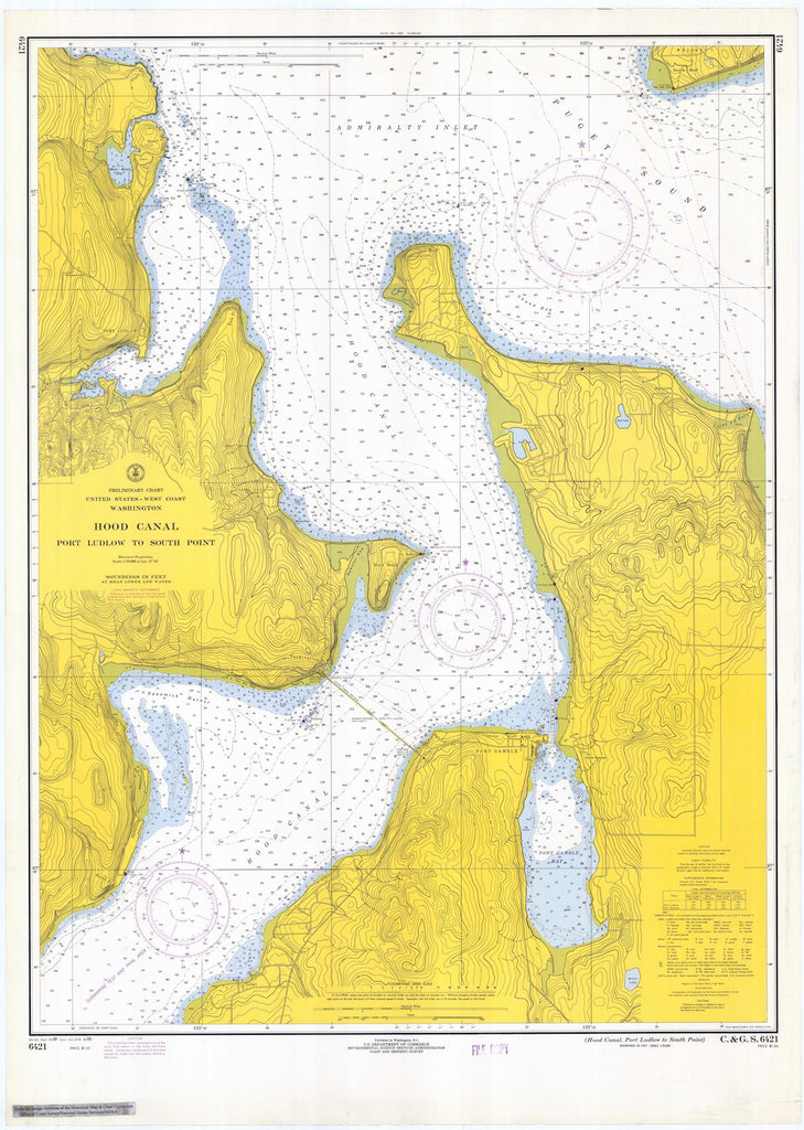 Hood Canal - Port Ludlow to South Point Map - 1969