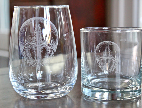 Horseshoe Crab Engraved Rocks, Stemless Wine & Pint Glasses