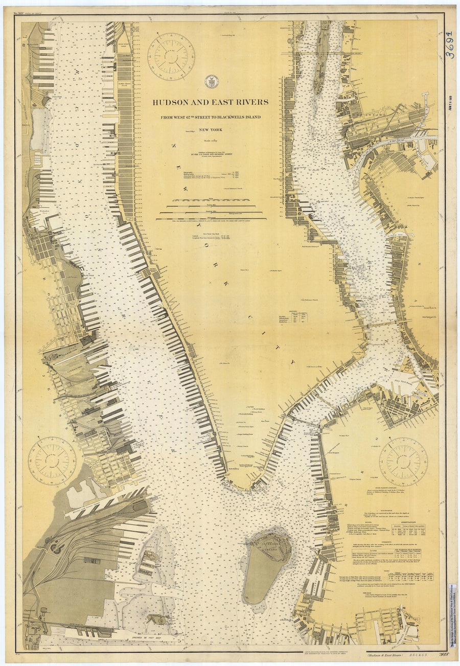 Hudson River & East River Map - 1919