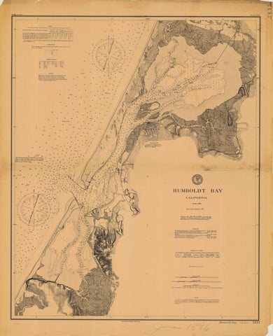 Humboldt Bay California Historical Map 1896