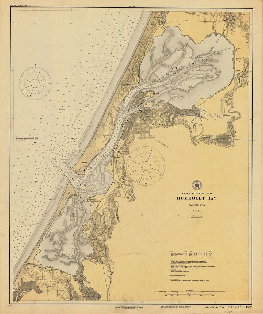 Humboldt Bay California Map - 1921
