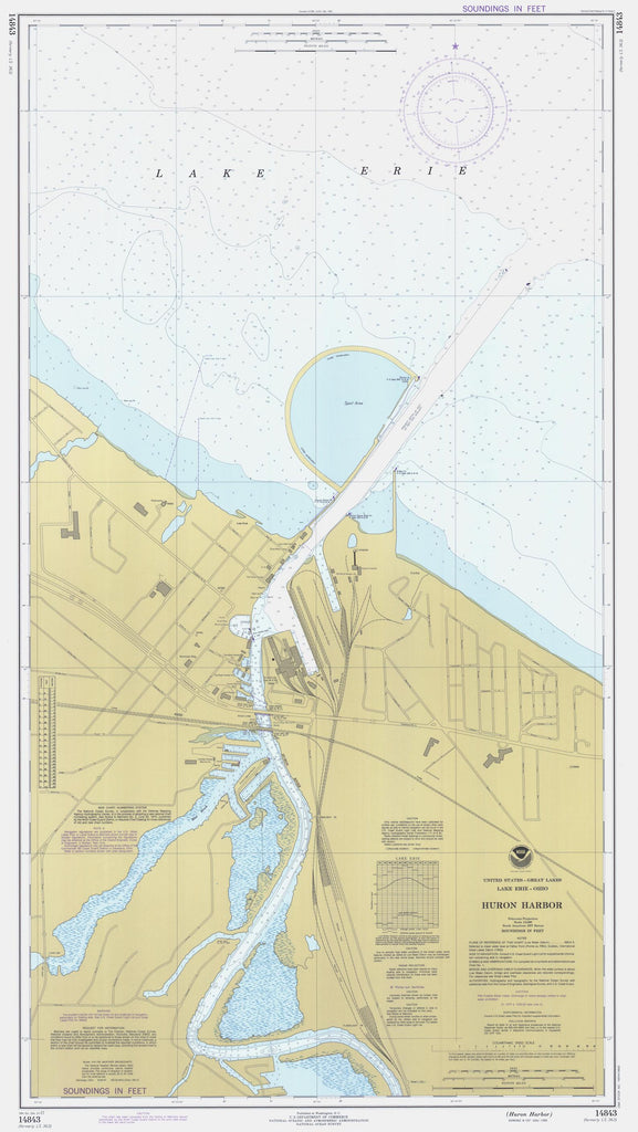 Huron Harbor Map - Lake Erie Chart - 1977
