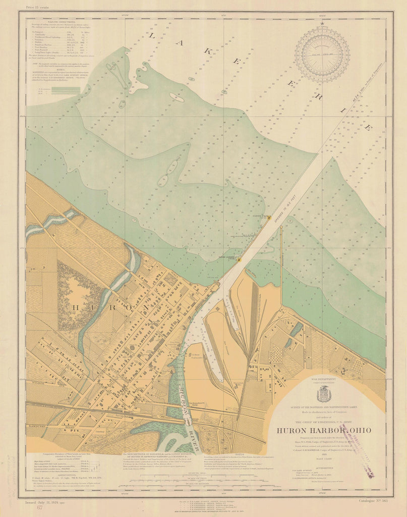 Huron Harbor Map - Lake Erie Chart - 1924