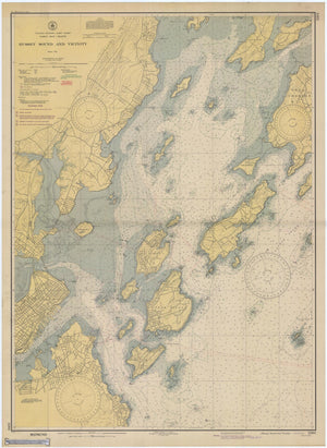 Hussey Sound - Casco Bay Maine Map - 1945