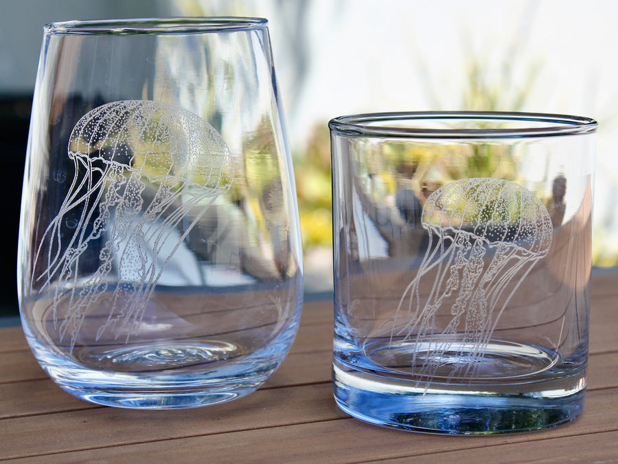 Jellyfish Engraved Glasses