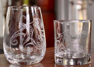 Octopus Engraved Glasses