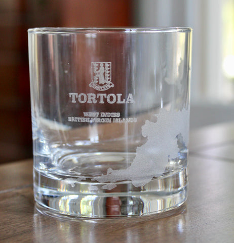Tortola BVI Map - Engraved Rocks, Stemless Wine & Pint Glasses