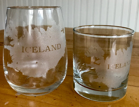 Iceland Map - Engraved Rocks & Stemless Wine Glasses