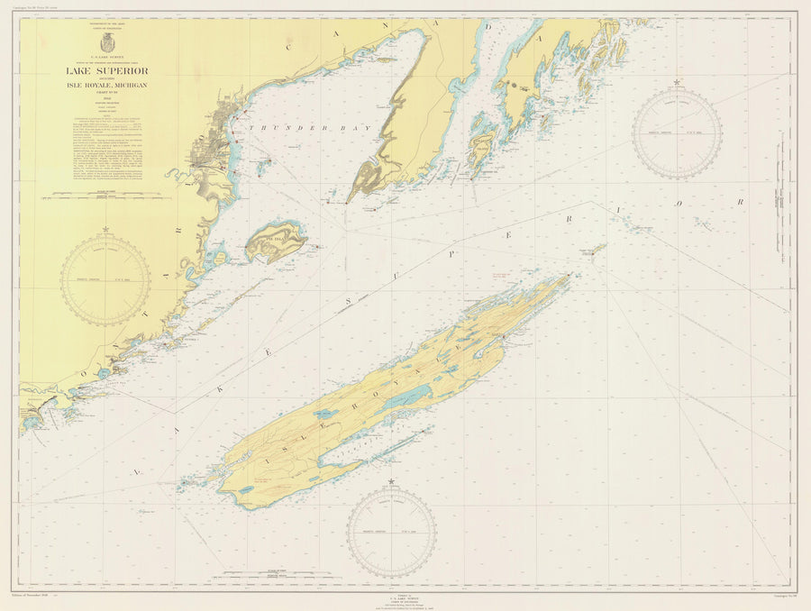 Lake Superior - Isle Royal Map - 1948