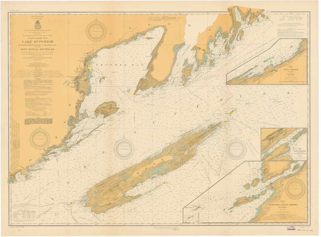 Lake Superior Isle Royal Historical Map - 1913