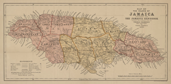 Jamaica Map - 1893