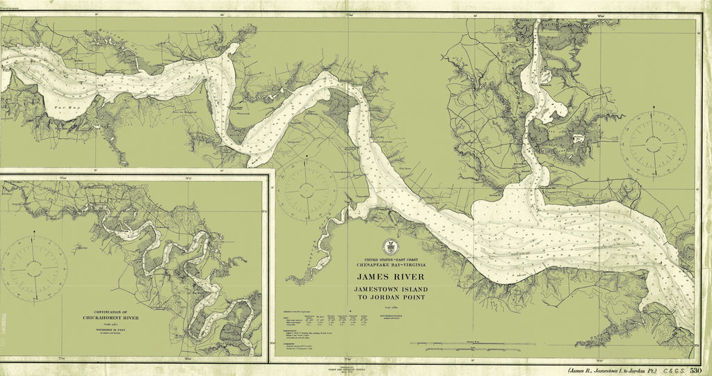 James River - Jamestown Island to Jordan Point Map - 1912