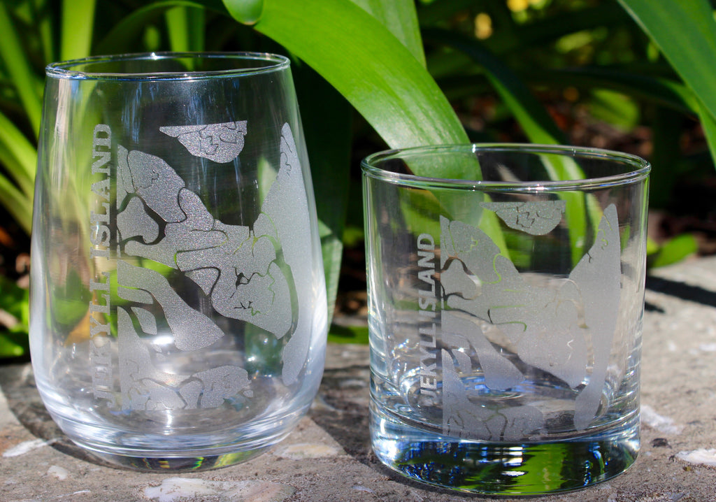 Jekyll Island Map - Engraved Rocks, Stemless Wine & Pint Glasses