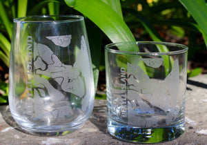 Jekyll Island Map Glasses