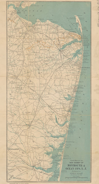 Jersey Shore Map - Monmouth & Ocean Counties - 1890