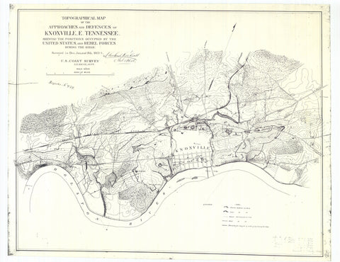 Knoxville Tennessee - Approaches & Defenses Map - 1864