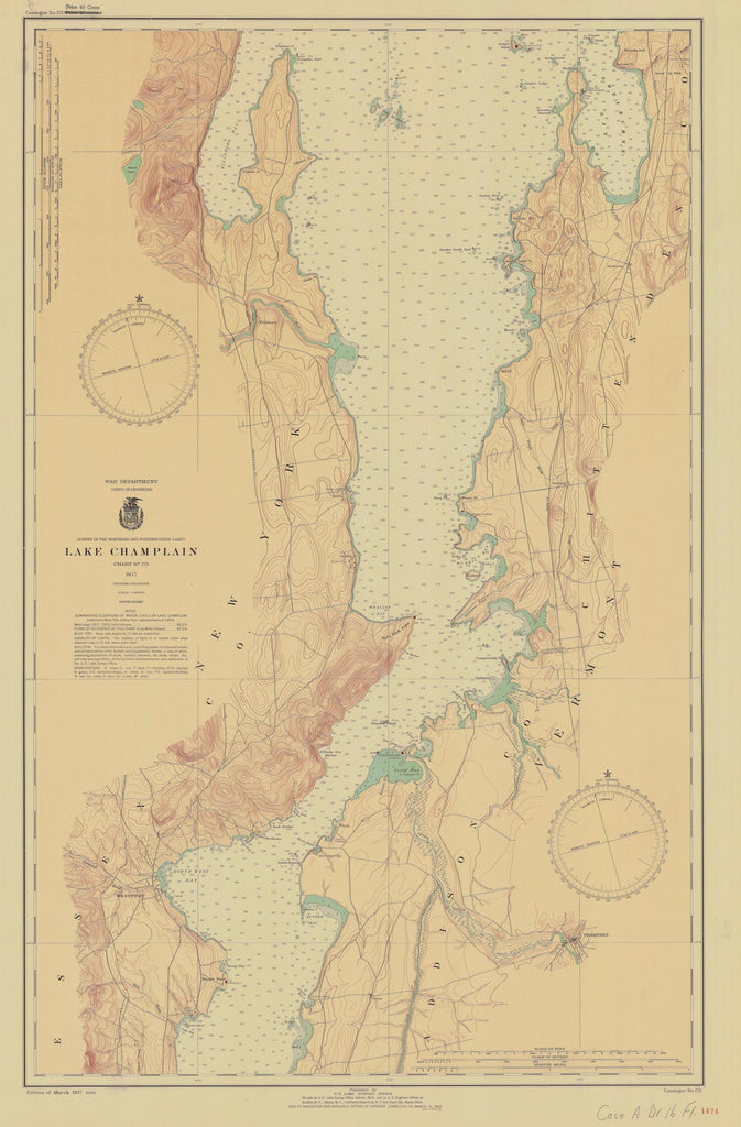 Lake Champlain Map - Chart 173 - 1937