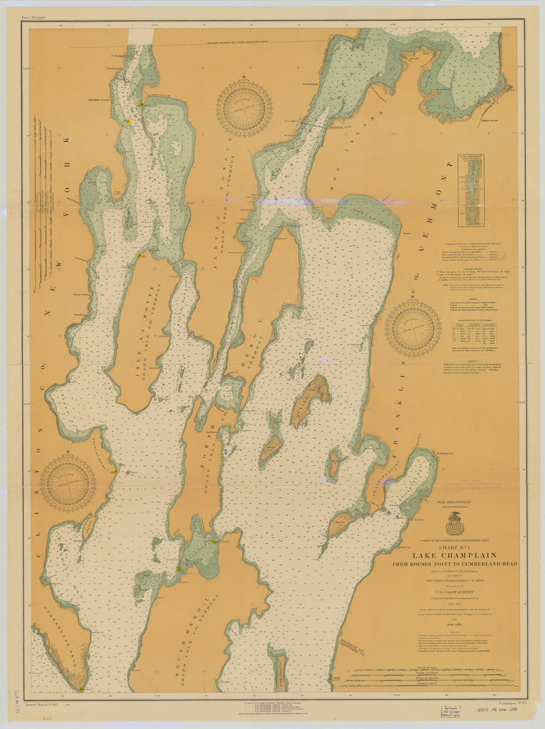 Lake Champlain Map - 1917