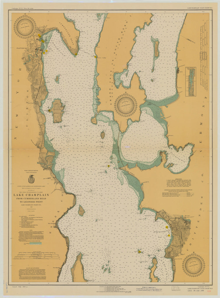 Lake Champlain Map - 1929