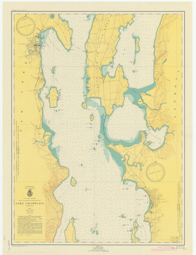 Lake Champlain Map - 1948